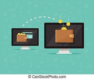 Electronic money transfer vector illustration, flat cartoon...