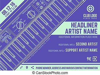 electronic music concert synthesizer horizontal flyer...
