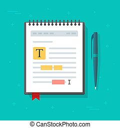 Electronic note pad or note book with text file content editing vector icon, flat cartoon creating online notes or writing electronic document text, author or copywriting concept symbol isolated
