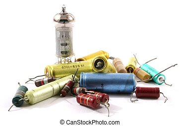 Electronic Parts - Different types of electronic parts on...