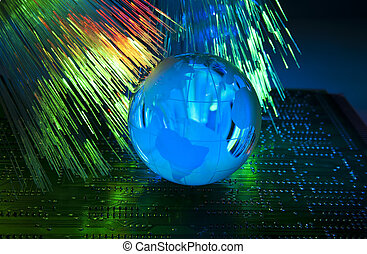 electronic printed circuit board with   technology style against fiber optic background