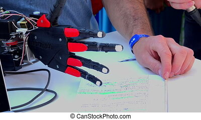 Electronic prosthetic arm. 4K. - Electronic prosthetic arm. ...