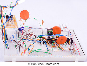 Electronic experimentation circuit board with various components