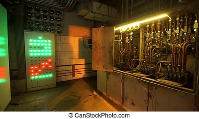 Electronic Push Button For electricians The buttons are colorful. Metallurgical plant