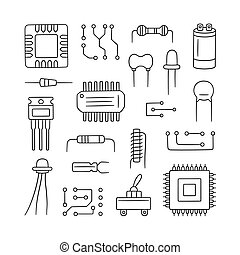 Electronic radio components. Set of microchip, diode, transistor capacitor, resistor. Computer parts. Hand drawn vector illustration