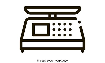 Electronic Scale Icon Animation. black Electronic Scale animated icon on white background