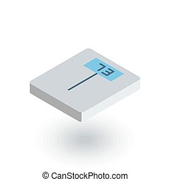 electronic scales, fitness, health isometric flat icon. 3d vector