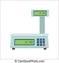 Electronic scales for products. Kitchen scales, isolated on a white background, vector illustration