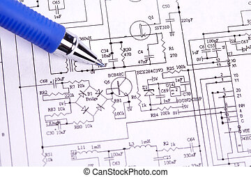 An electronic schematic diagram. Ideal technology background.