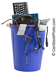 electronic scrap in blue trash can