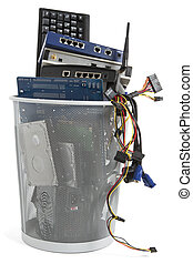 electronic scrap in trash can