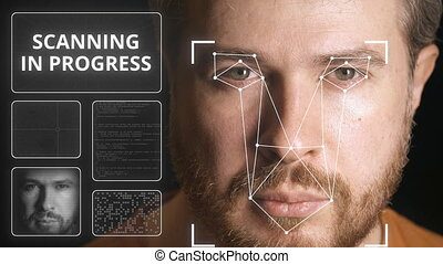 Electronic security system scanning man's face - Computer...
