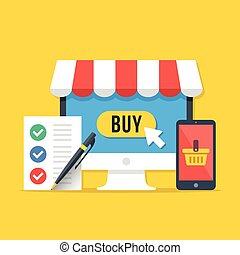 Electronic shopping, online shopping concepts. Desktop computer with buy button, smartphone with shopping basket, shopping list with pen. Modern flat design graphic elements set. Vector illustration