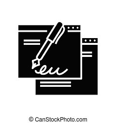 Electronic signature black icon, concept illustration, vector flat symbol, glyph sign.