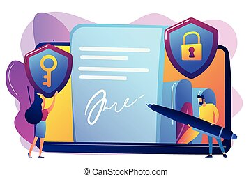 Businessman putting electronic signature on document, security shields. Electronic signature, e-signature template, e-sign consent agreement concept. Bright vibrant violet vector isolated illustration