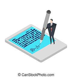 Electronic signature tablet. Little Businessman and Big Pen. Props of electronic document. Isometric style