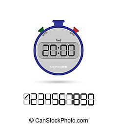 Electronic stopwatch with a set of numbers for design and design