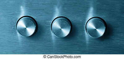 electronic switches - closeup of three electronic round ...