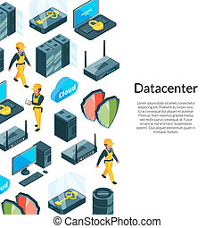 Electronic system of data center icons with illustration