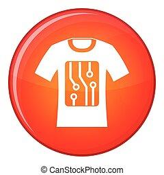 Electronic t-shirt icon, flat style