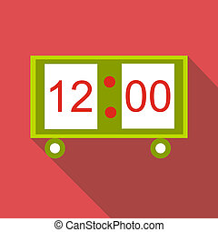 Electronic table clock icon, flat style