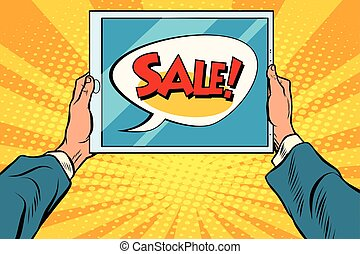 Electronic tablet in hand, sale