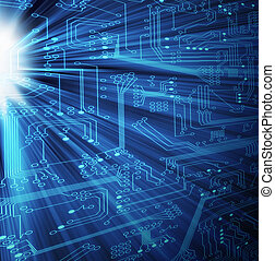 Electronic Technology - XL - Modern circuit board with light...