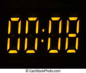 Yellow electronic timer counting from 00:00 to 00:60, wide (16:9)