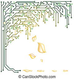 Electronic tree with yellow and green leaves in a vector