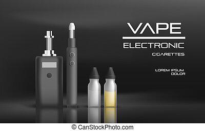 Electronic vape concept background, realistic style