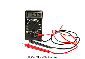 Electronic voltmeter on a white background