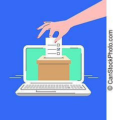 Electronic voting concept. Flat line vector illustration of female hand putting marked ballot paper into ballot box on computer screen. Voter makes choice on election day online. Local elections by PC