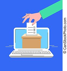 Electronic voting concept. Flat line vector illustration of male hand putting marked ballot paper into ballot box on computer screen. Voter makes choice on election day online. Local elections by PC