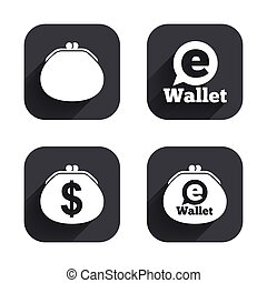 Electronic wallet icons. Dollar cash bag sign.