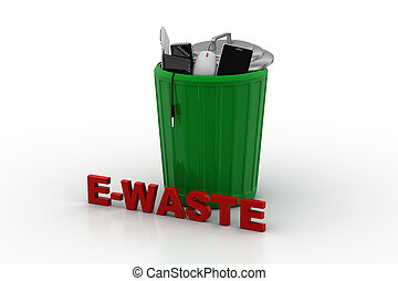 Electronic waste in green trash can