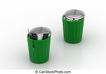 Electronic waste with plastic waste in green trash can