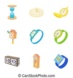 Electronic watch icons set, cartoon style