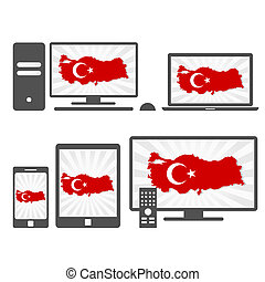 Electronic with the map of Turkey