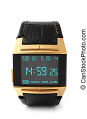 Electronic wristwatch on white background