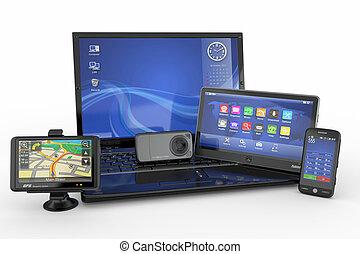 electronics., ラップトップ, 移動式 電話, タブレットの pc, そして, gps