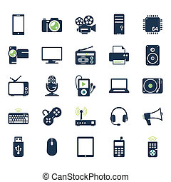 Electronics and gadgets icons set
