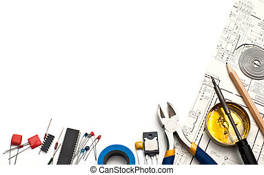 Electronics Background Set Of Electronic Tools Components And Scheme On White Background