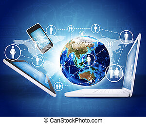 electronics., begriff, erde, kommunikation