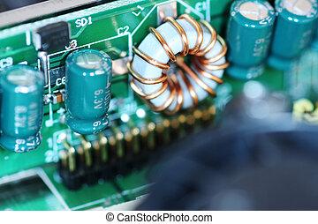Close up viewof a computer circuit board