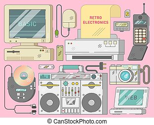 Electronics collection from 90s, vector illustration set
