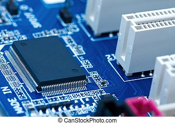 Electronics - Computer mainboard with many electronic ...