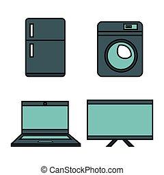 electronics devices set icons