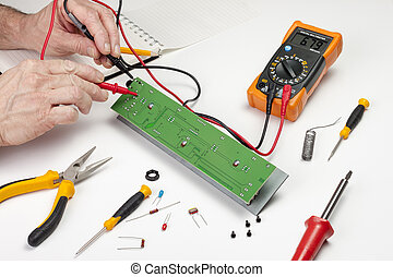Electronics engineer testing
