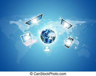 electronics., erdball, begriff, erde, kommunikation