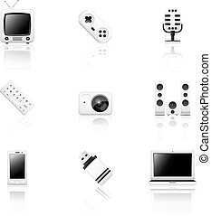 Electronics icons with reflection